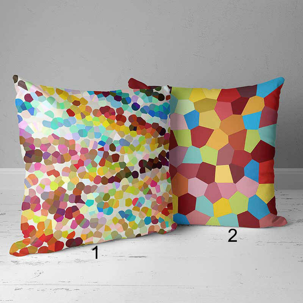 colorful throw pillow covers with mosaic design red yellow blue