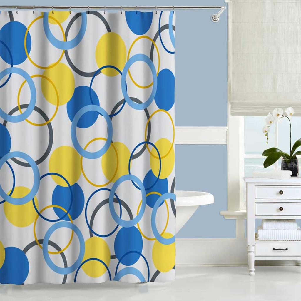 geometric shower curtain bath mat blue and yellow