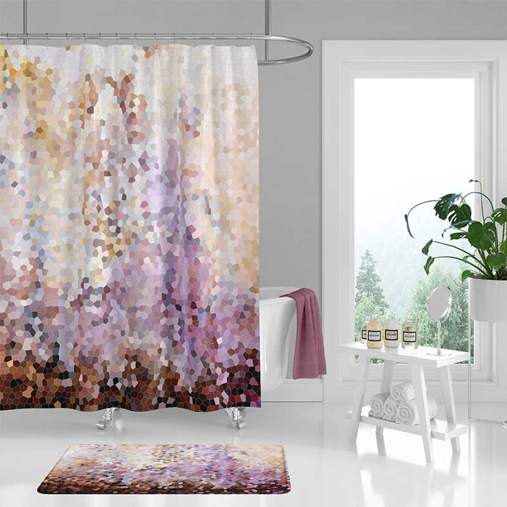 abstract shower curtain bath mat brown purple and yellow