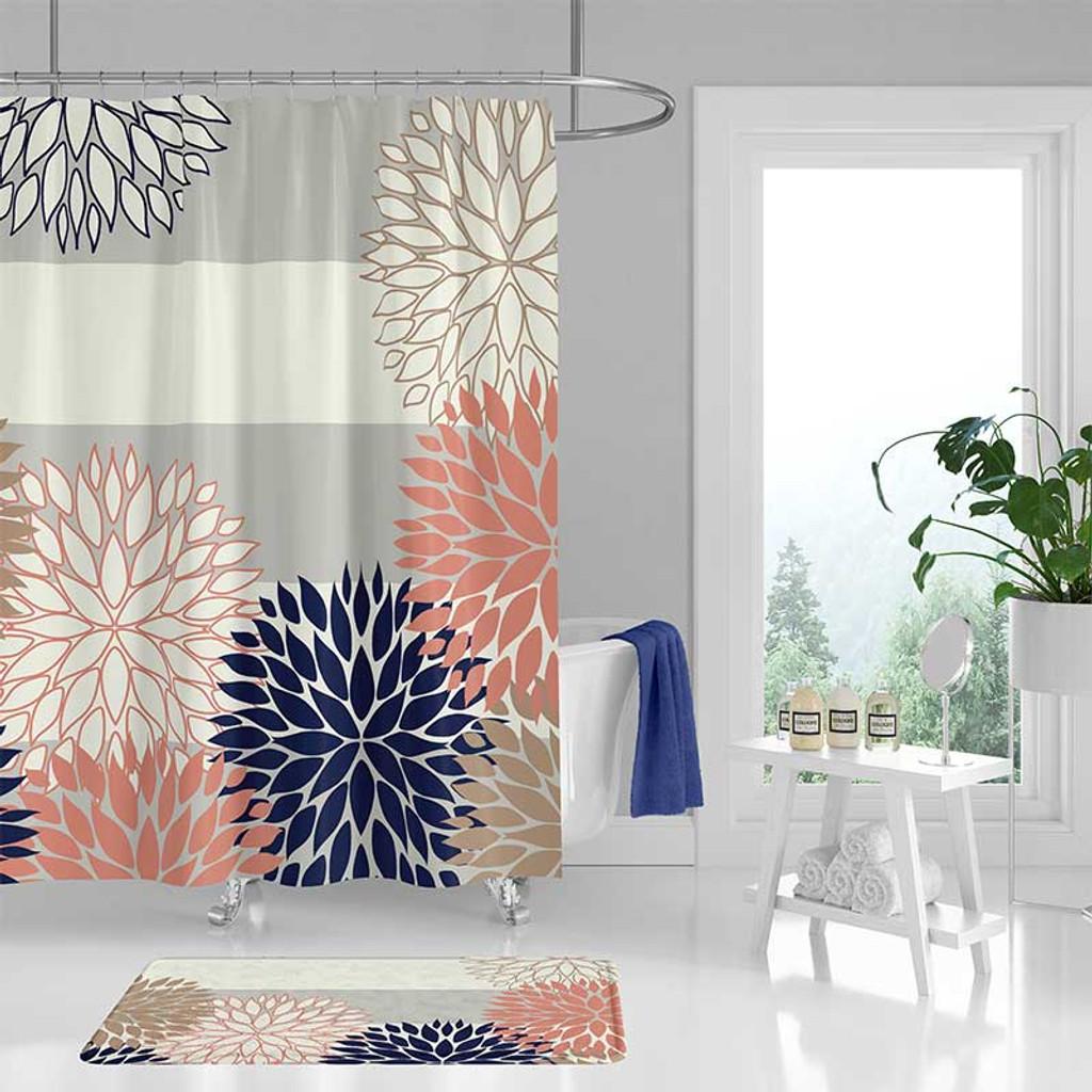 floral bathroom curtain gray blue and pink shower curtain bath mat