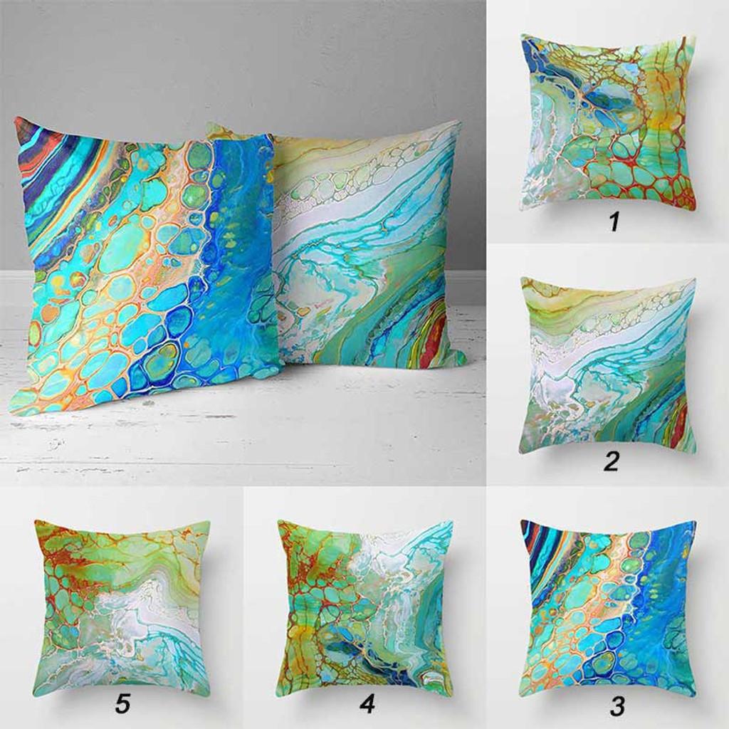 abstract coastal throw pillow covers beach home decor teal blue green