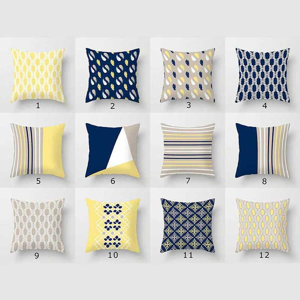 decorative pillow covers for couch cushion covers blue yellow beige