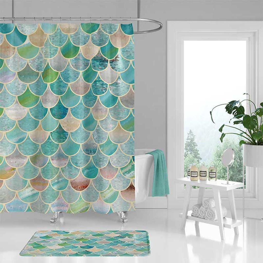 mermaid scales shower curtain bath mat blue teal green brown