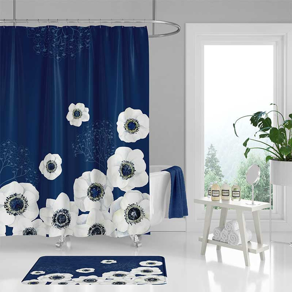 floral shower curtain bath mat with large flowers in blue and white