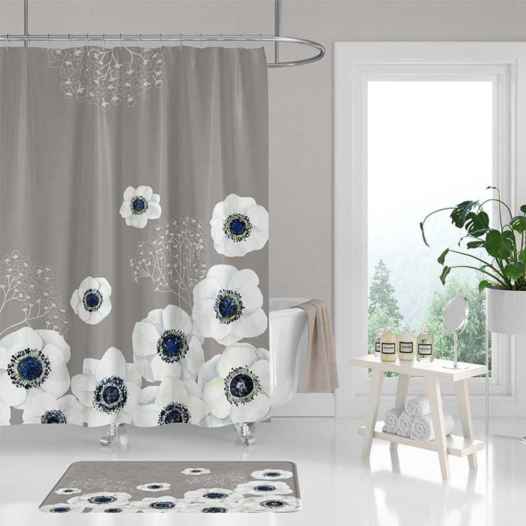 shower curtain bath mat with large flowers gray blue yellow mint green