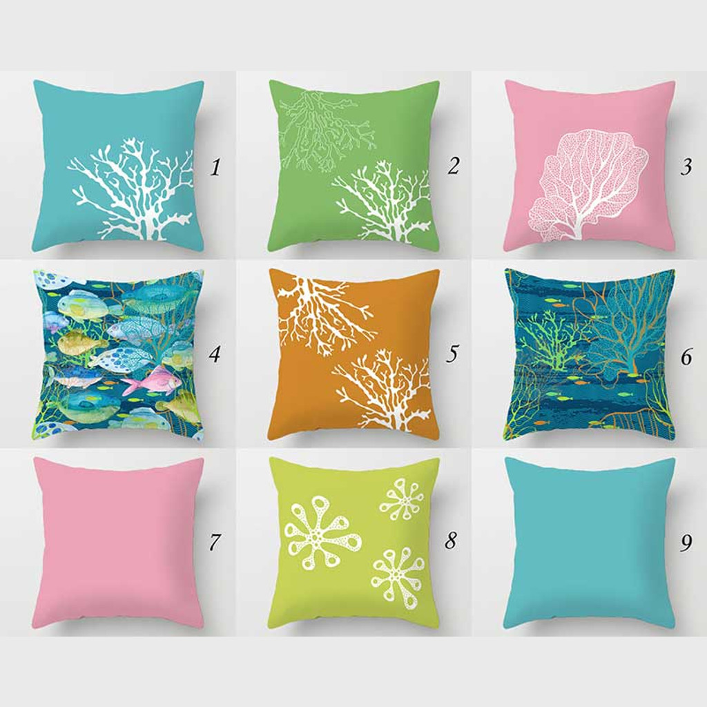 outdoor pillow covers with fishes and coral reef patio cushions blue green orange pink