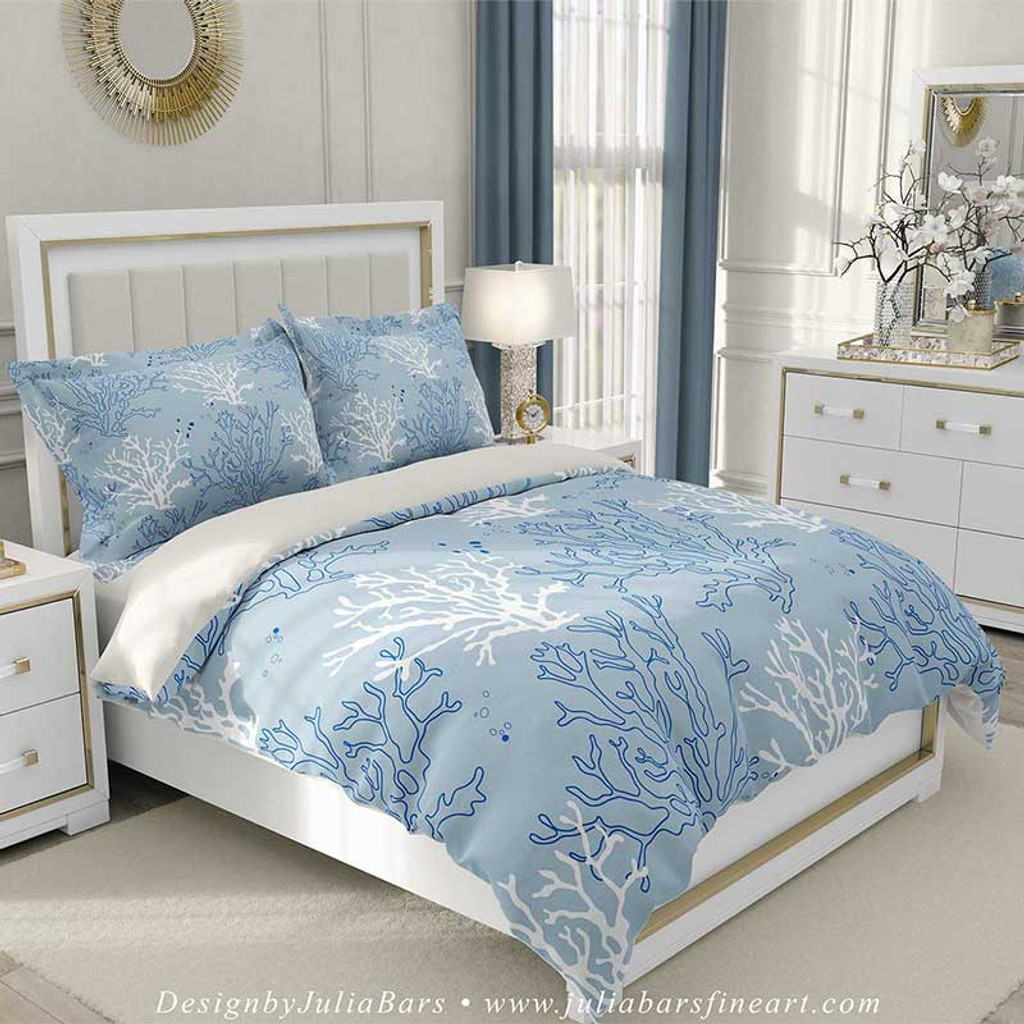 Blue White Duvet Cover And Pillow Shams With Coral Branch Pattern