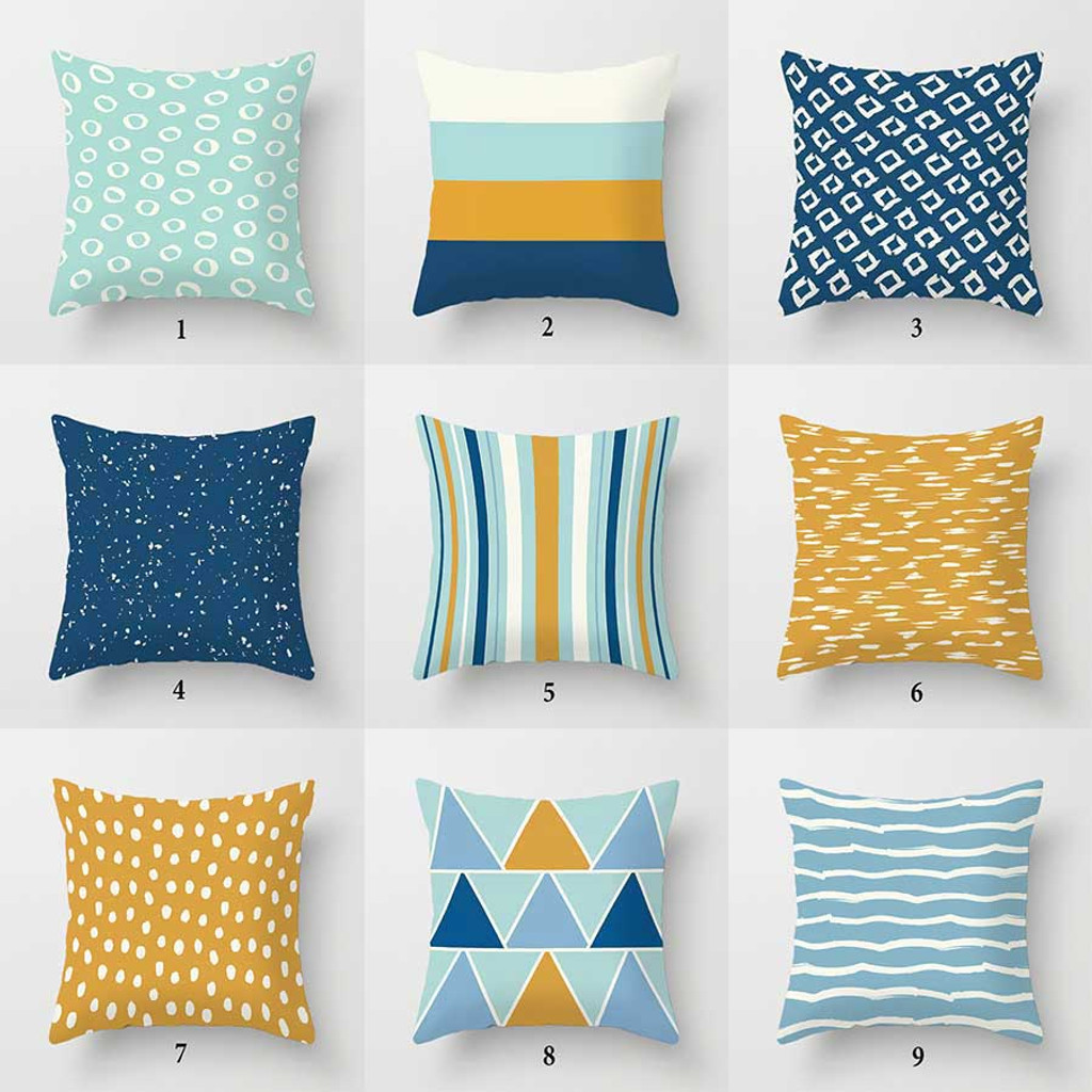 mix match throw pillow covers geometric cushion covers blue mint green yellow