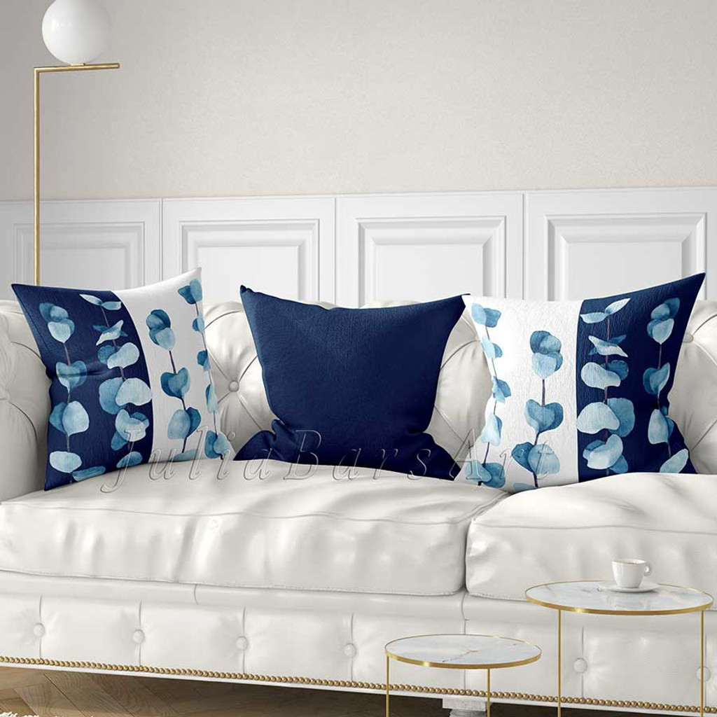 floral throw pillow covers eucalyptus leaves cushion covers blue white