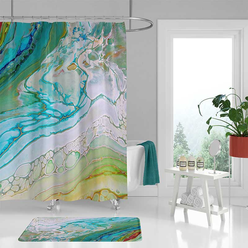 coastal shower curtain bath mat seafoam green blue bathroom decor