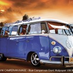Blue Campervan Giant Wallpaper Vw Wall Mural Park A Campervan On The Wall