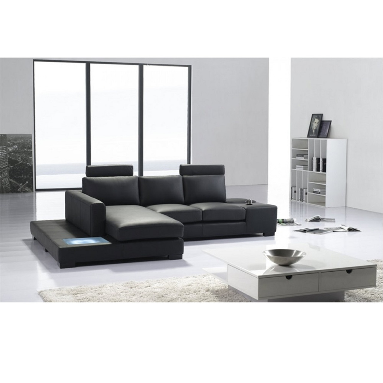t35 mini modern white leather sectional sofa best brands 2018 canada divani casa black eco with on sale