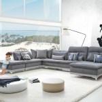 David Ferrari Horizon Modern Grey Fabric Grey Leather Sectional Sofa Lounge La