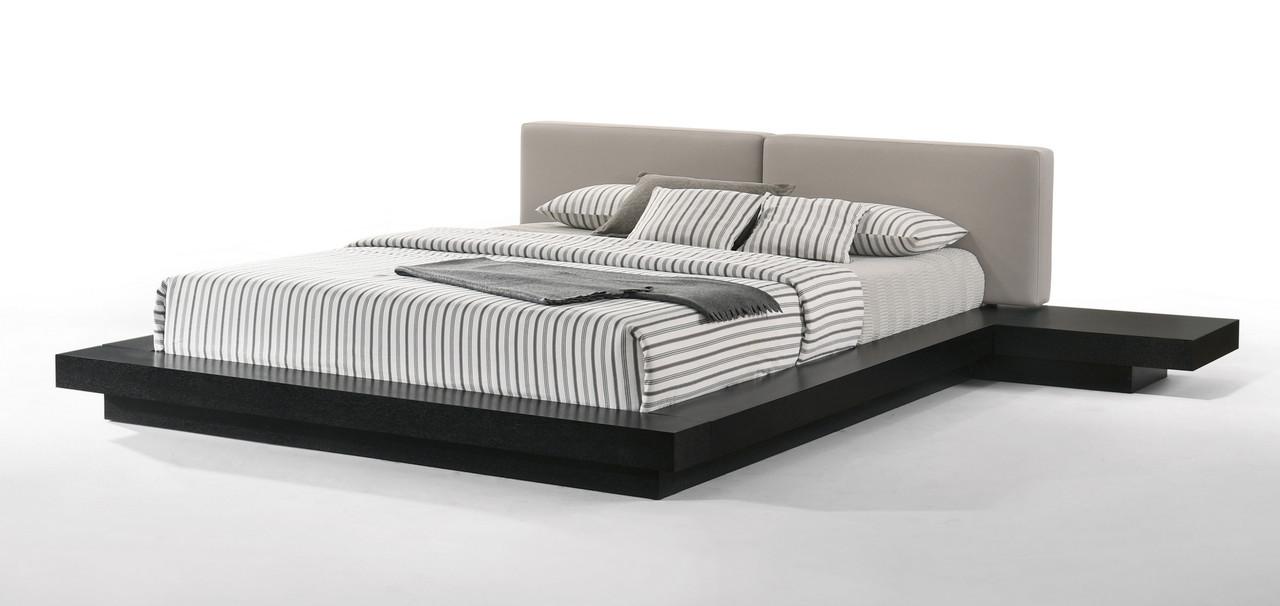 Modrest Tokyo Contemporary Black And Grey Platform King Size Bed Lounge La