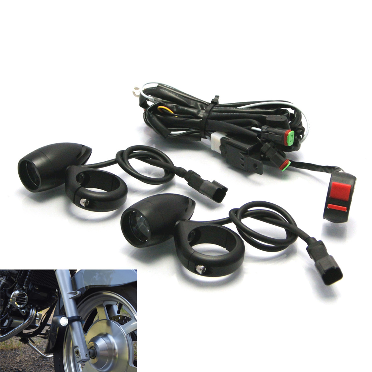black aluminium bullet spot fog lights with complete wiring kit fork clamps [ 1280 x 1280 Pixel ]