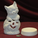 Ceramic Bisque U Paint Cat With Pumpkin Candle Holder Halloween Unpainted Ready To Paint Diy Fat Cat Ceramics