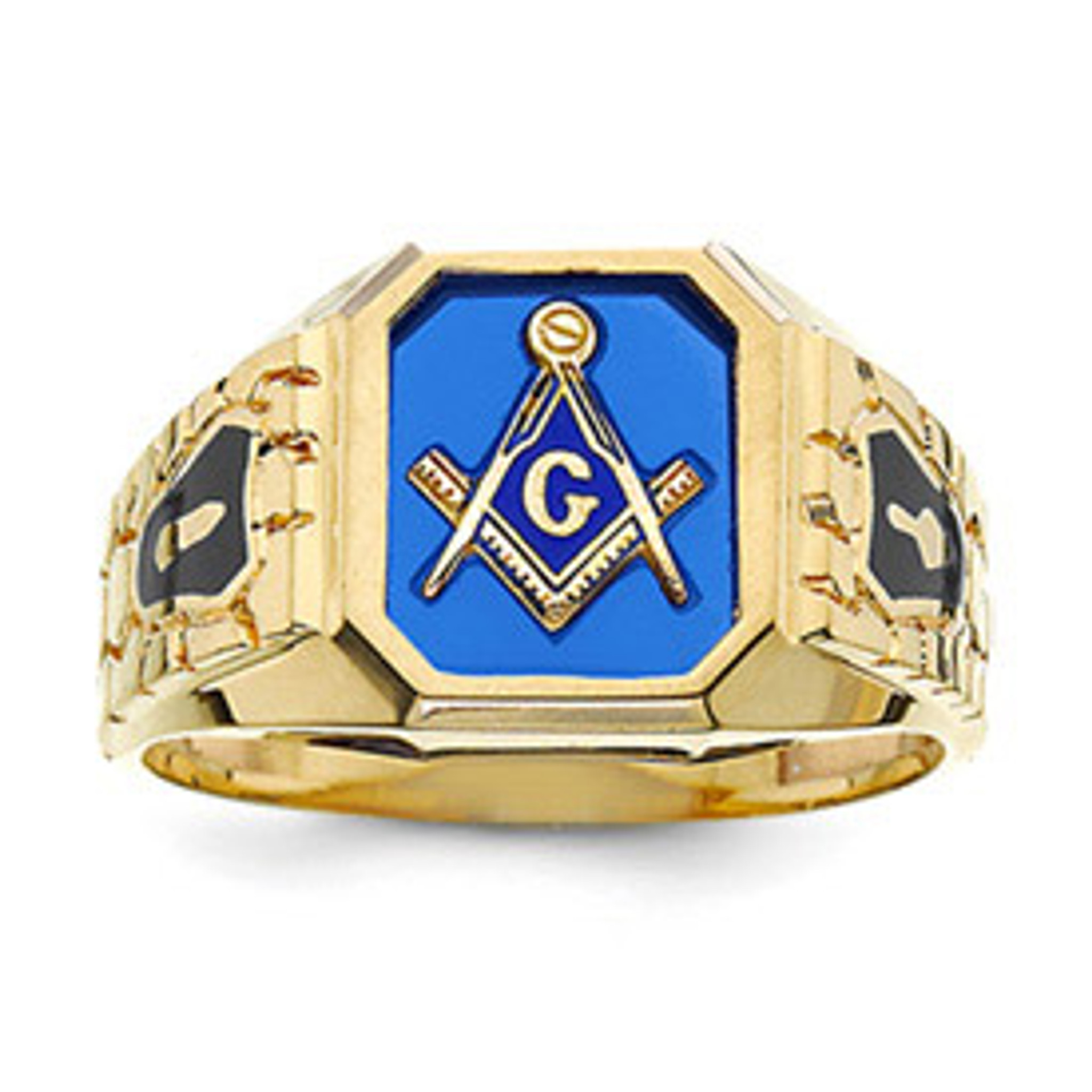 Blue Acrylic Men' Masonic Ring 10k Gold - Homebello