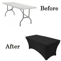 Black Lifetime Chair Covers Metal Tub Stretch Spandex 5 Ft Rectangular Table Cover Your Tablecloth Before After