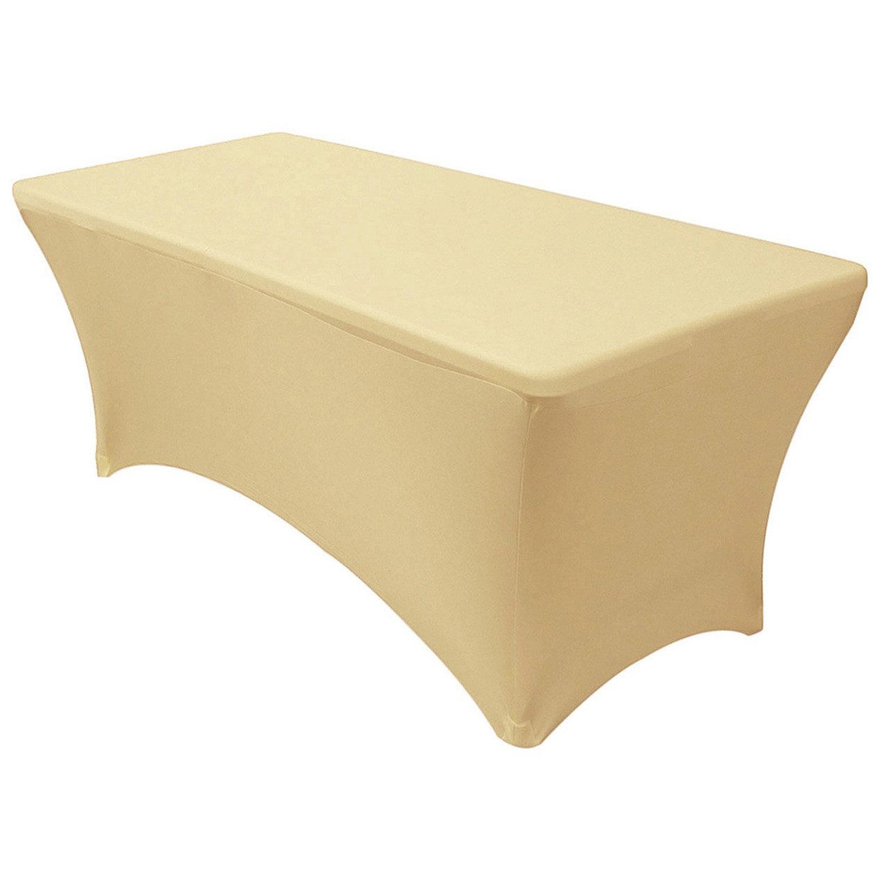 Champagne Chair Covers Stretch Spandex 6 Ft Rectangular Table Cover Champagne
