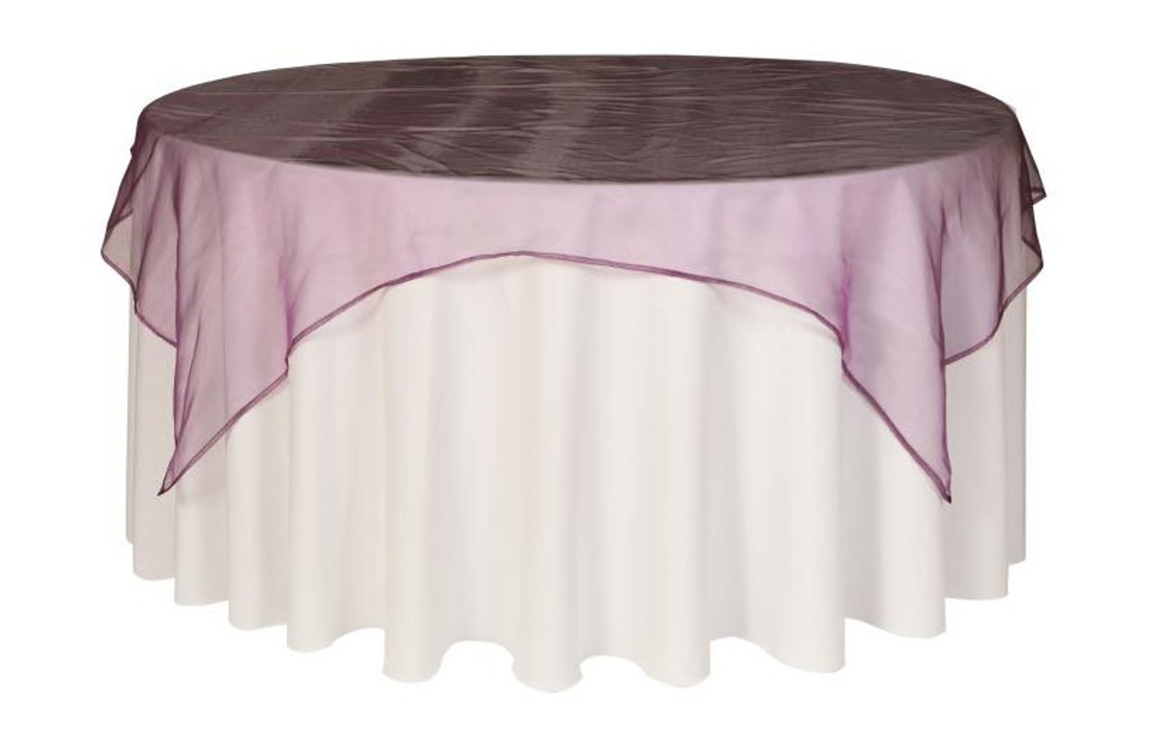 your chair covers inc reviews dunelm tub 72 inch square organza table overlay eggplant overlays