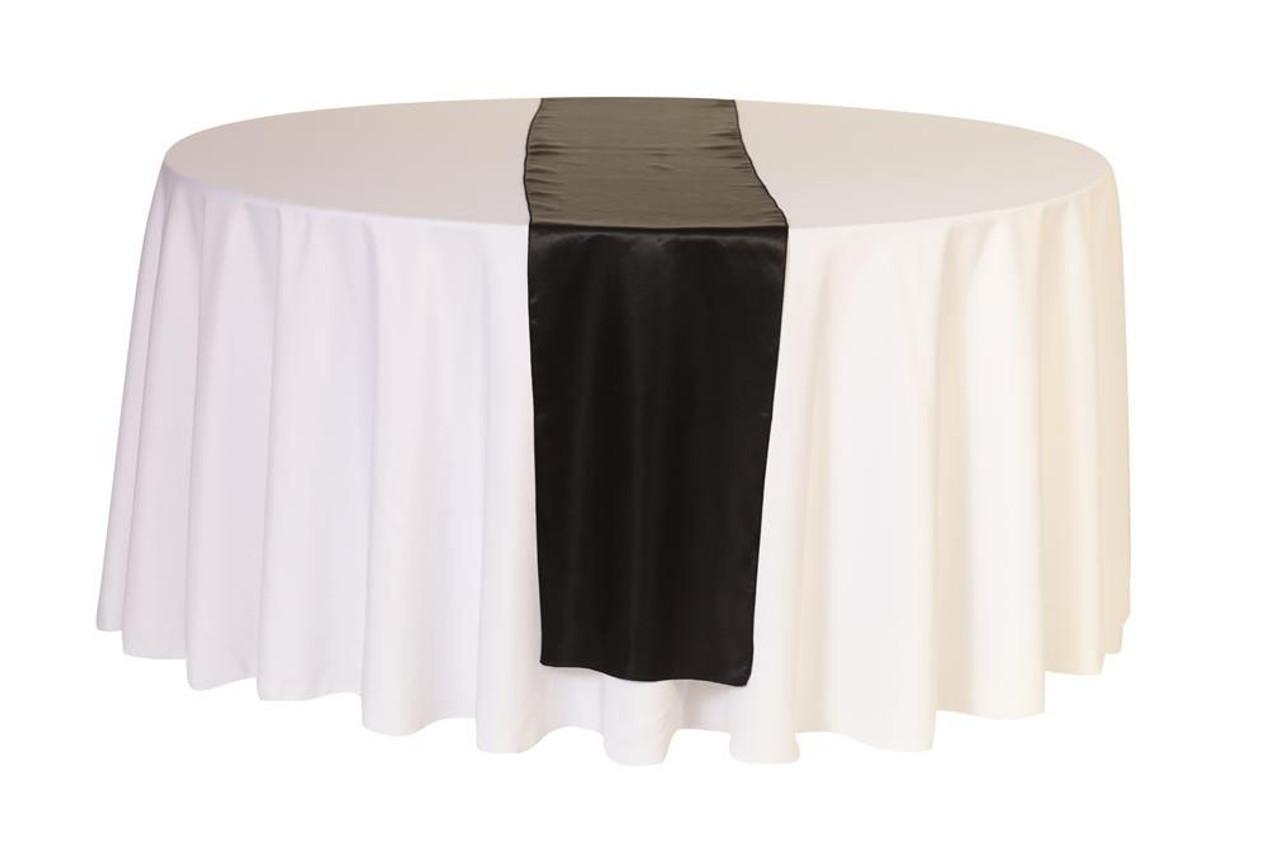 14 X 108 Satin Table Runner Black - Chair Covers