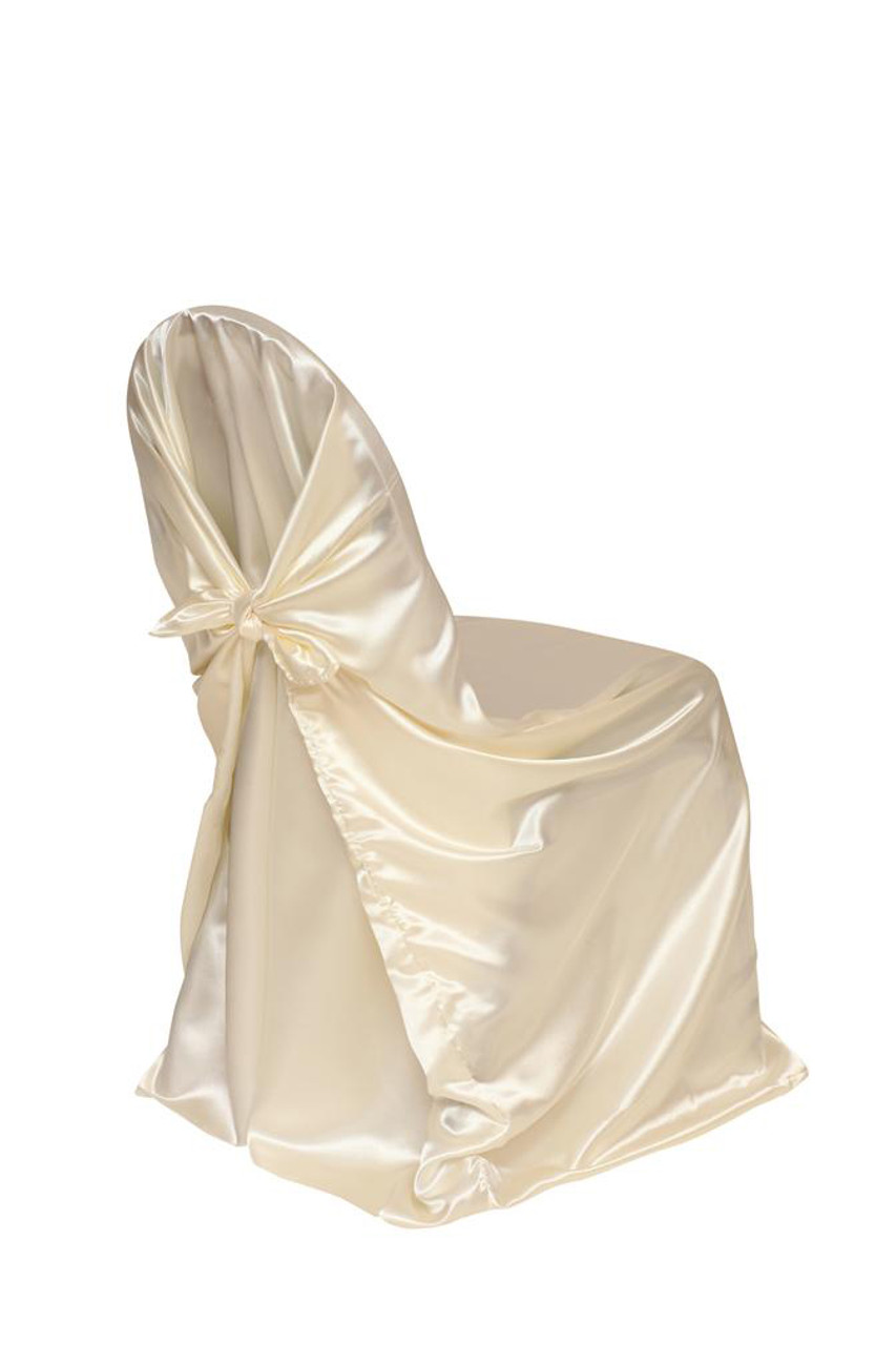 cheap chair covers for chairs with arms joki hanging satin self tie universal cover ivory your inc