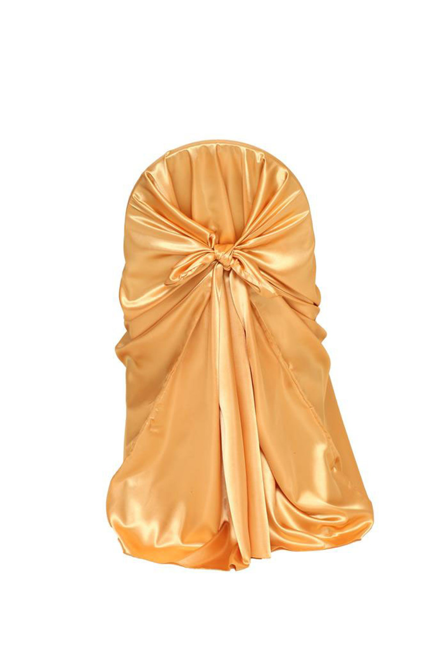 gold universal chair covers big man recliner chairs satin self tie cover your inc for weddings