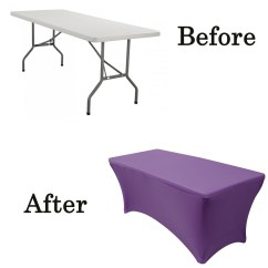 Your Chair Covers Inc Reviews Beach Chairs With Cup Holders Stretch Spandex 6 Ft Rectangular Table Cover Purple Lifetime Folding