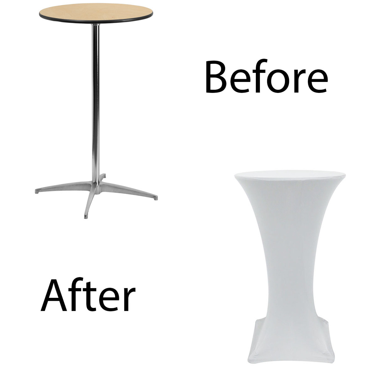 wholesale chairs and tables in los angeles chair positions for scaling 24 inch highboy cocktail round stretch spandex table cover white before after