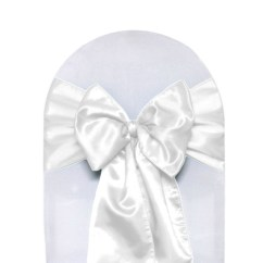 White Chair Sashes Without Backrest Damask Flocking Taffeta And Black Pack Of 10 Your