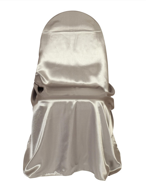 universal wedding chair covers sale swing stand only wholesale for weddings spandex seat satin self tie dark silver platinum