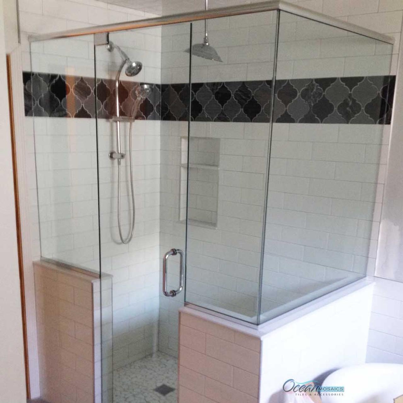 clover arabesque black mix mosaic glass tile