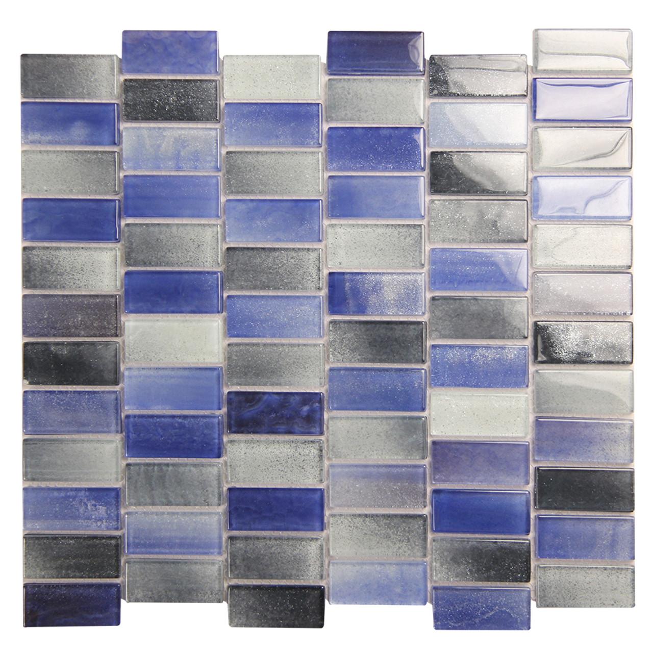 extant blue mix 1x2 pool mosaic glass tile