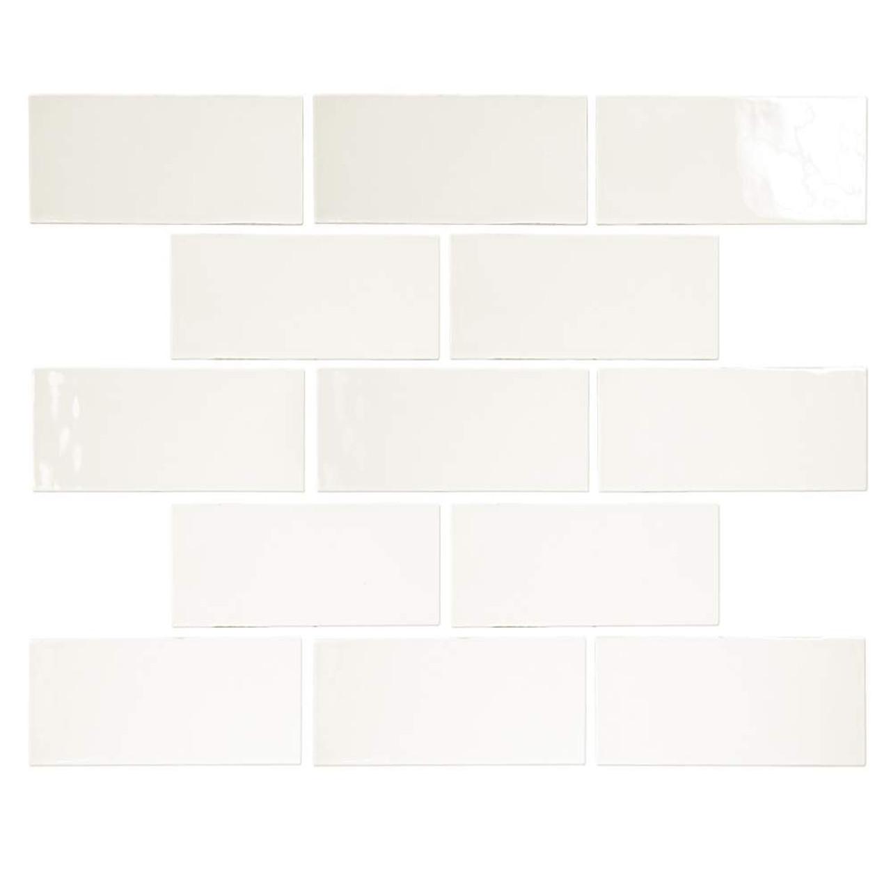 pastel off white glossy 3x6 porcelain subway tile 5 4 sq ft
