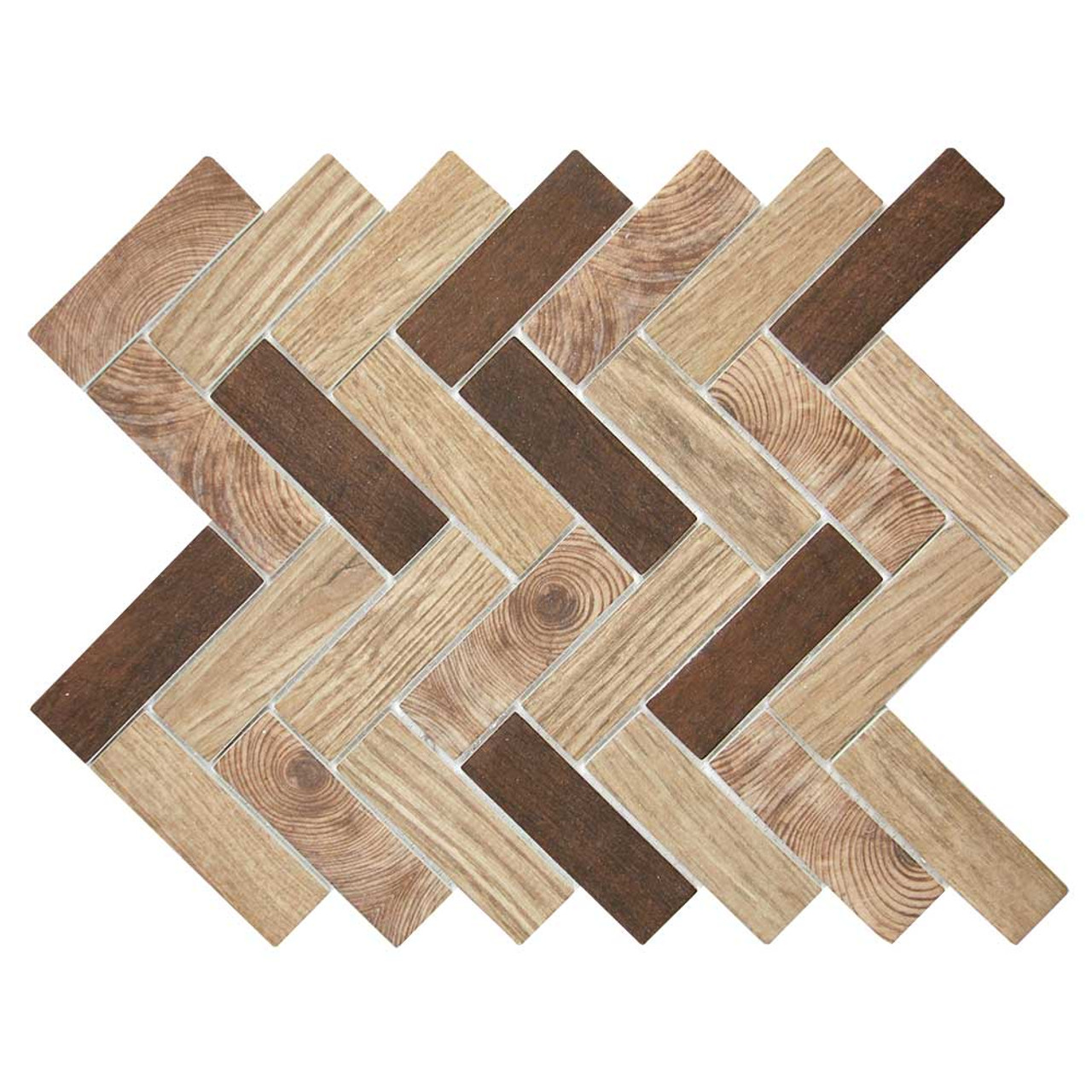 spigacycle wood caoba mix herringbone recycled glass tile