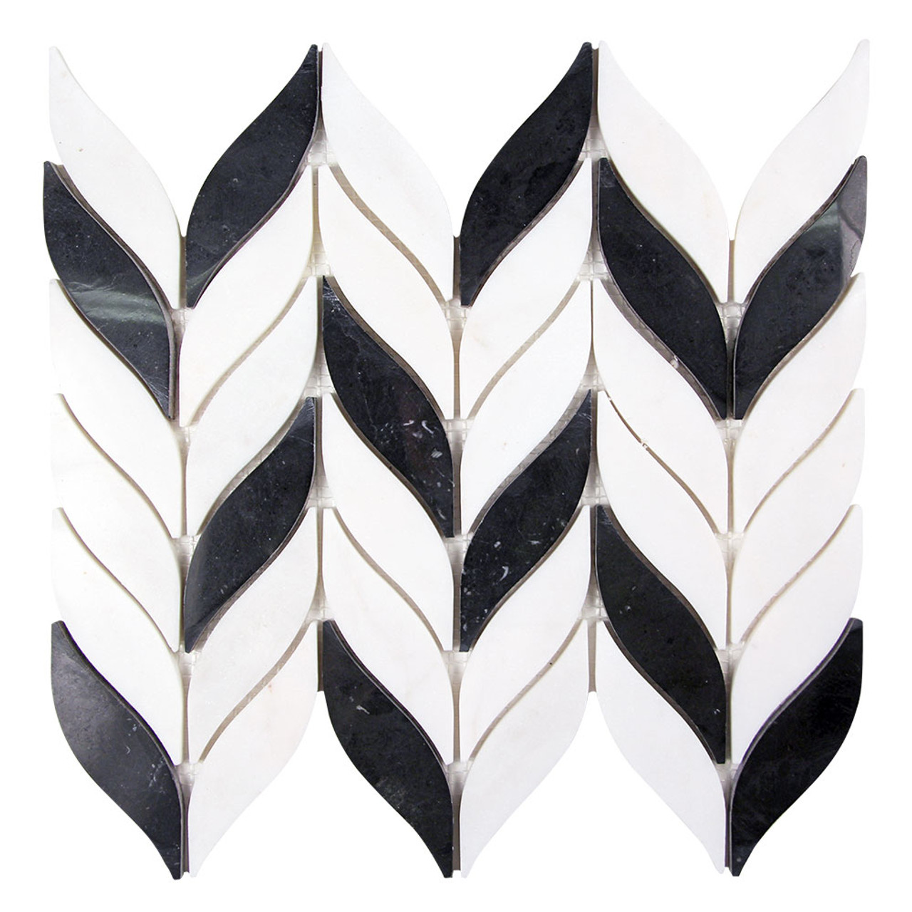 elegance black and white waterjet marble leaf mosaic tile