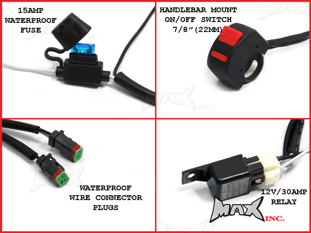 motorcycle universal 18w cree led spot driving lights complete wiring kit plug n [ 1024 x 768 Pixel ]