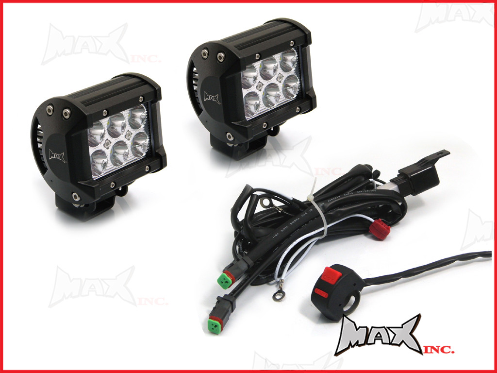 medium resolution of motorcycle universal 18w cree led spot driving lights complete wiring kit plug n
