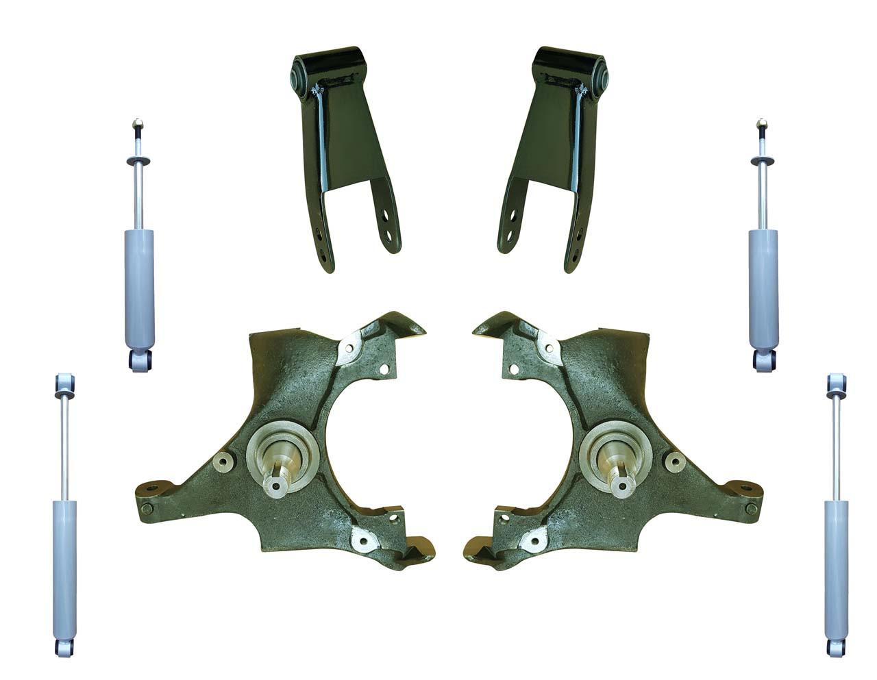 small resolution of 92 99 yukon tahoe suburban 2 drop spindle lowering kit with shocks