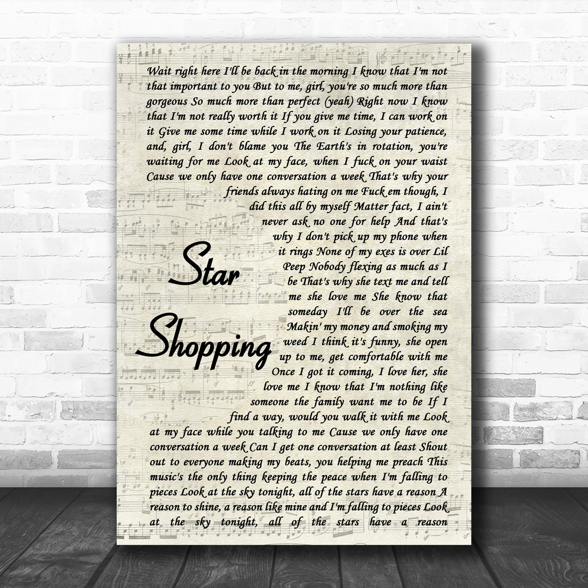 lil peep star shopping vintage script song lyric music poster print