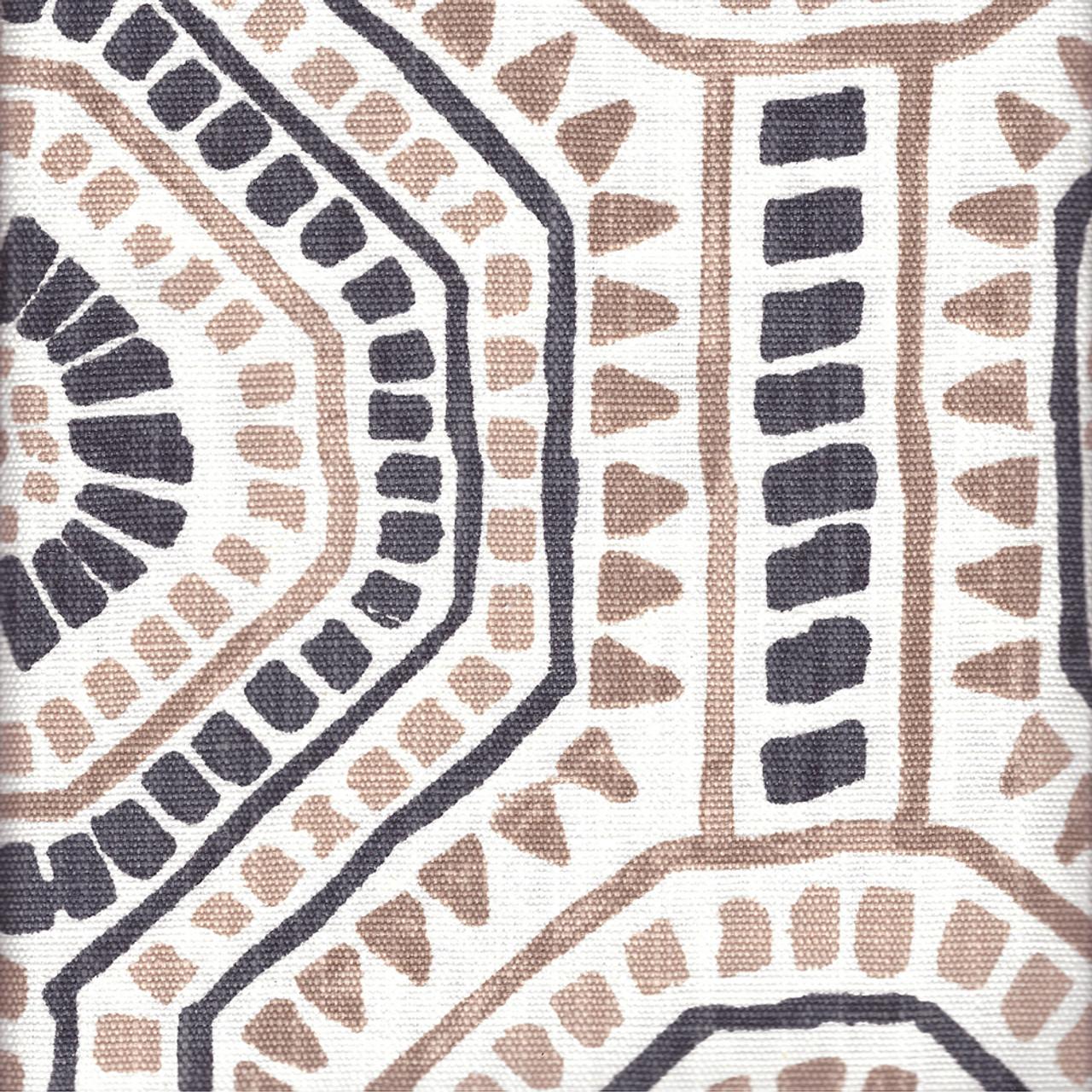 shower curtain in bricktown spice geometric rosy tan slub linen