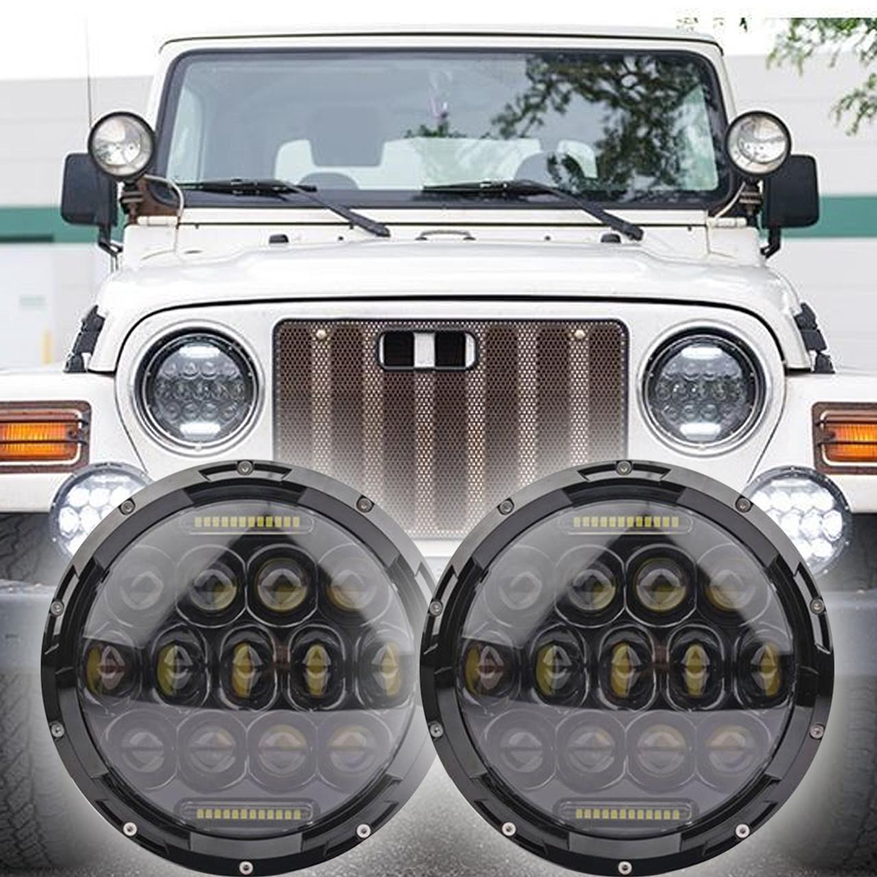 medium resolution of 1996 2006 jeep wrangler tj led headlight kit oracle 75w black projector style