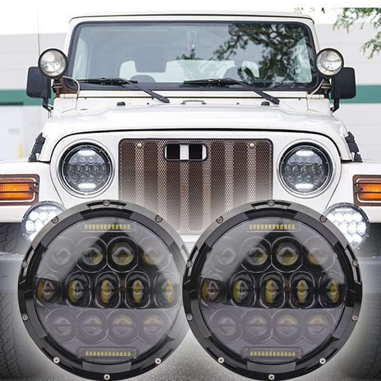 small resolution of 1996 2006 jeep wrangler tj led headlight kit oracle 75w black projector style