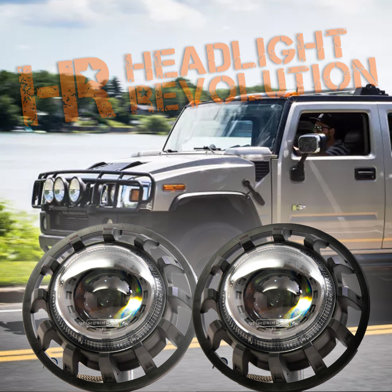 morimoto 2002 2009 hummer h2 super7 bi led headlight kit [ 900 x 900 Pixel ]