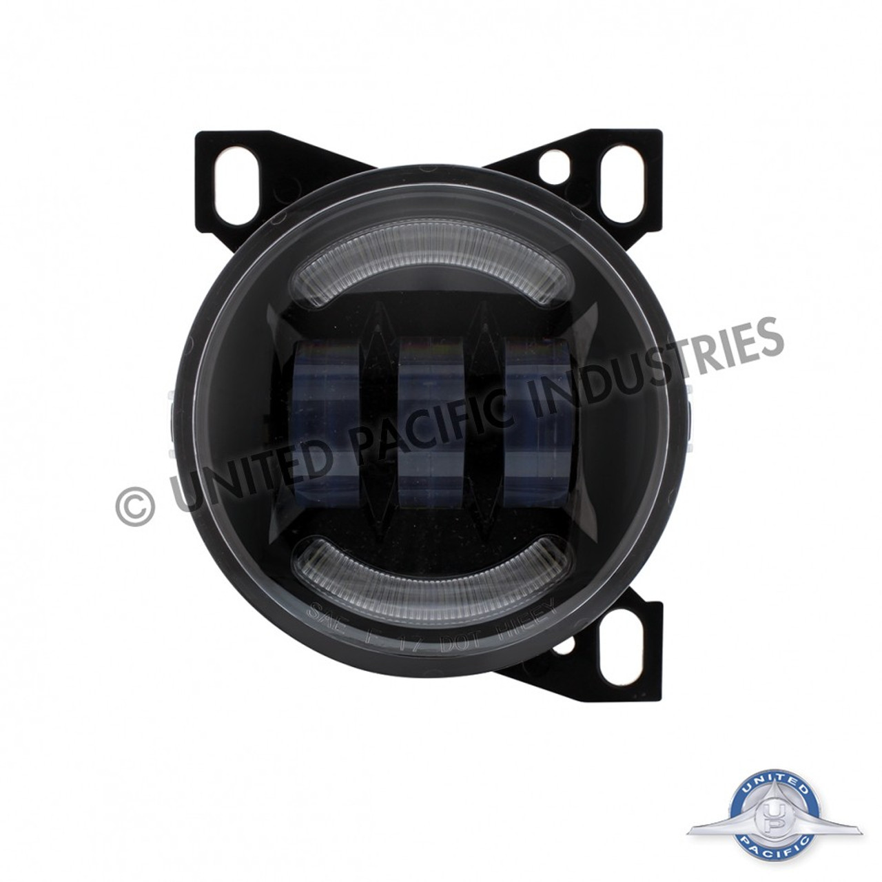 small resolution of united pacific 4 1 4 black round led fog light with led position light