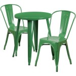24 Round Green Metal Indoor Outdoor Table Set With 2 Cafe Chairs