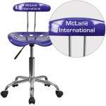 Personalized Vibrant Deep Blue And Chrome Swivel Task Office Chair With Tractor Seat