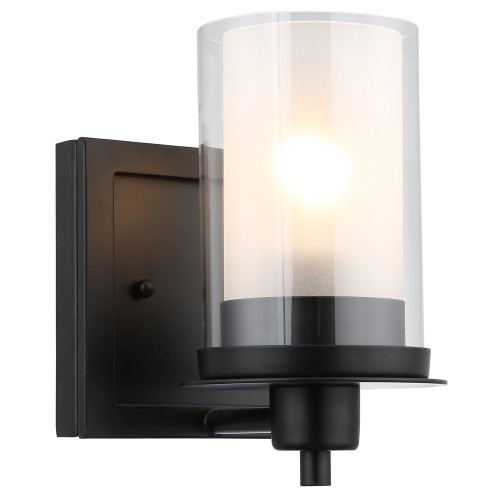 Juno Matte Black 1 Light Wall Sconce / Bathroom Fixture