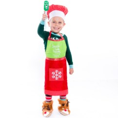 Kitchen Apron For Kids Undermount Stainless Steel Sinks Christmas And Hat Set Retrofestive Ca Baking