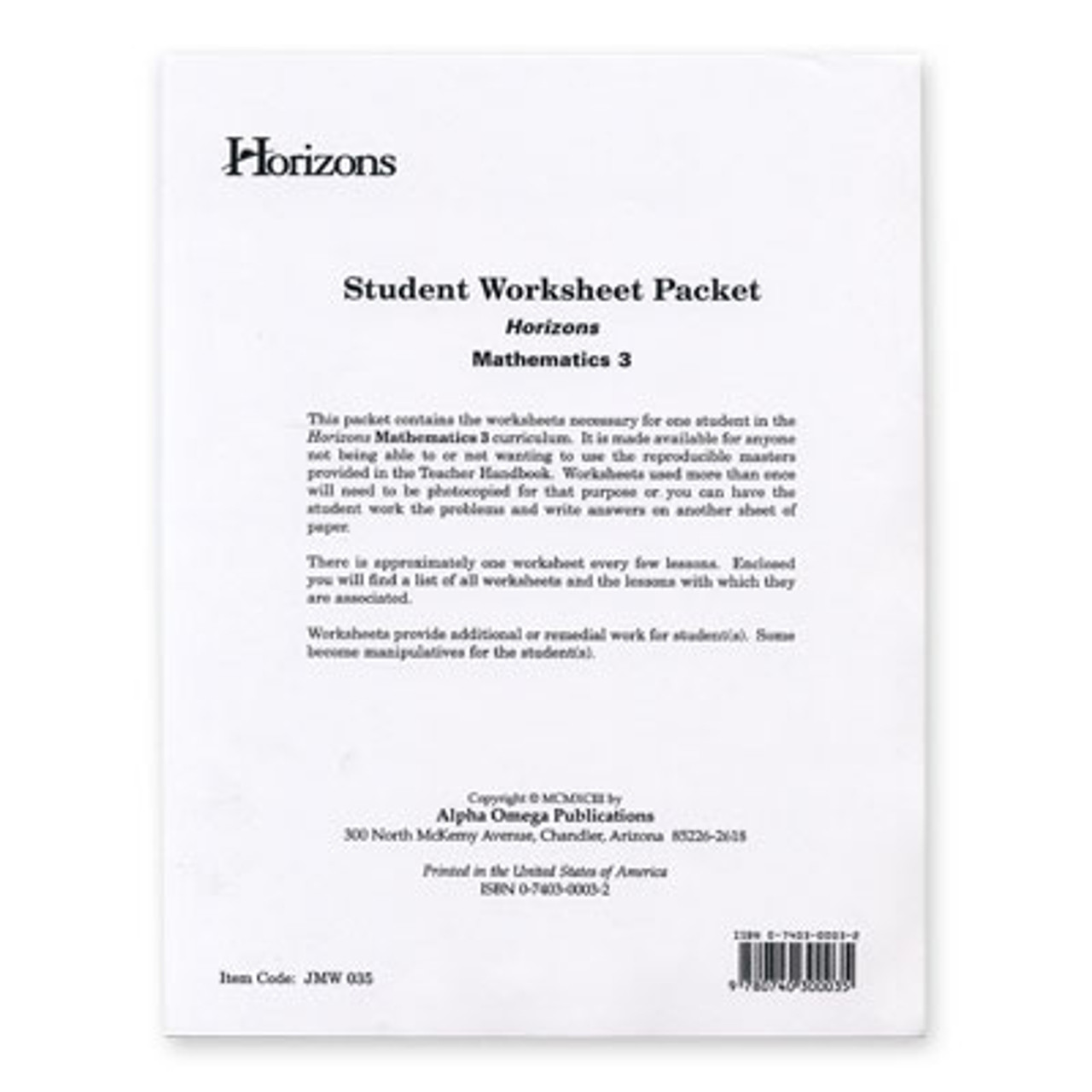 HORIZONS 3rd Grade Math Student Worksheet Packet - All Things New [ 1280 x 1280 Pixel ]